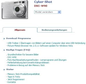 Support-Seite des Cybershot DSC-W90