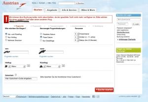 Screenshot Flug Buchen Aua
