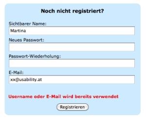 Registrierungsformular Usability